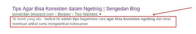 tampilan deskripsi pada hasil pencarian google