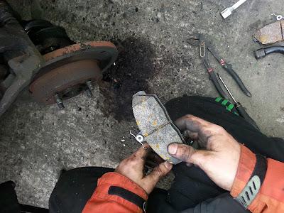 Changing brake pads.