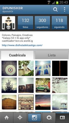 Perfil / Galería del usuario - app Instagram