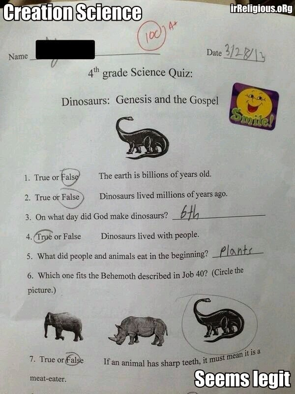 Funny Creationist Science Quiz Joke Picture