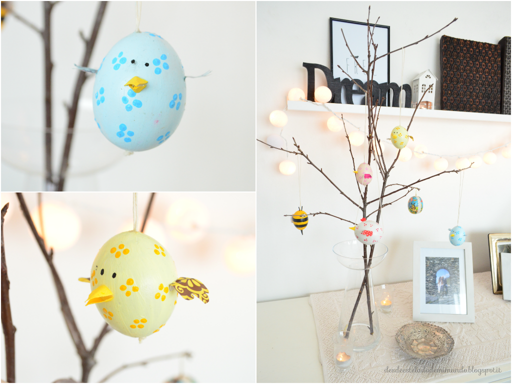 easter tree and two chikchen desdeesteladodemimundo.blogspot.it
