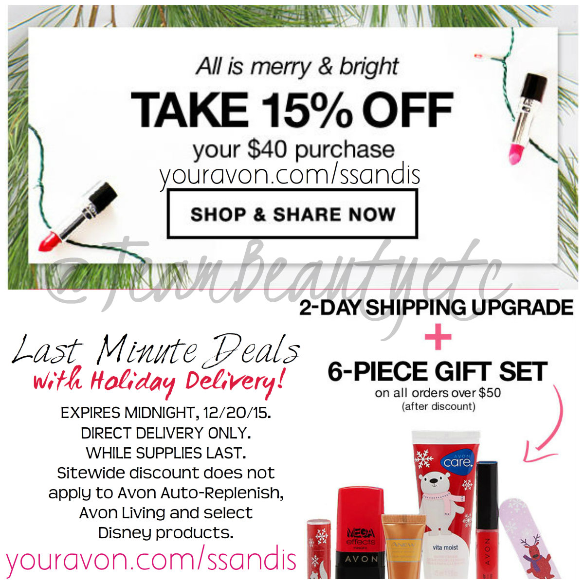 0bdb3a8d9 FREE 2-Day Shipping upgrade. FREE 6-pc Merry Makeup Set with all orders of   50+ after discounts 15% off all orders of  40+. Use Code  EXPEDITE