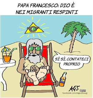 papa francesco, dio, migranti, satira, vignetta