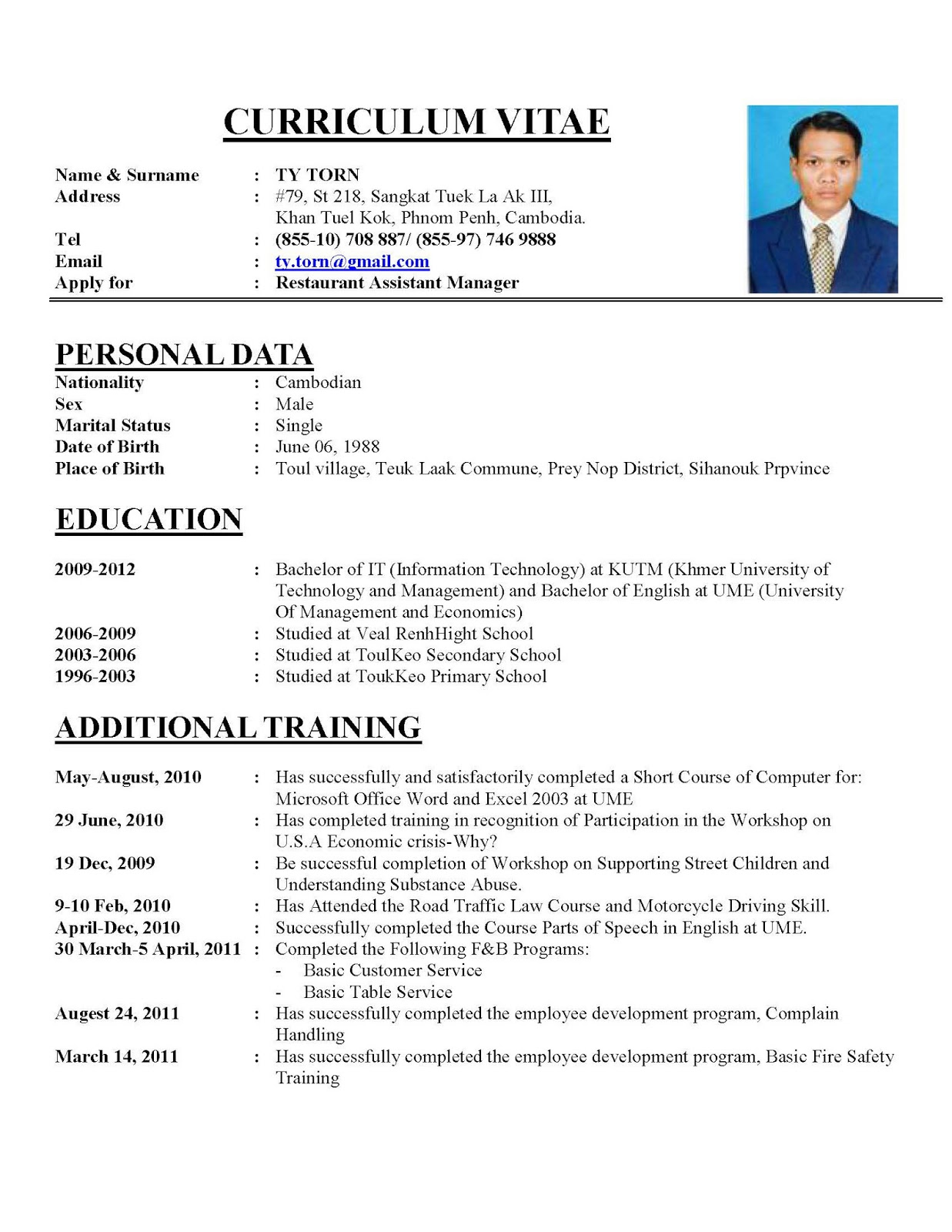 Curriculum Vitae Example In Thesis   Resume Writing Service Biz     Etusivu