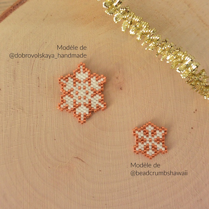 Flocons en perles Miyuki d'après des modèles de Beadcrumbshawaii et Dobrovolskaya Handmade tissés par Hello c'est Marine