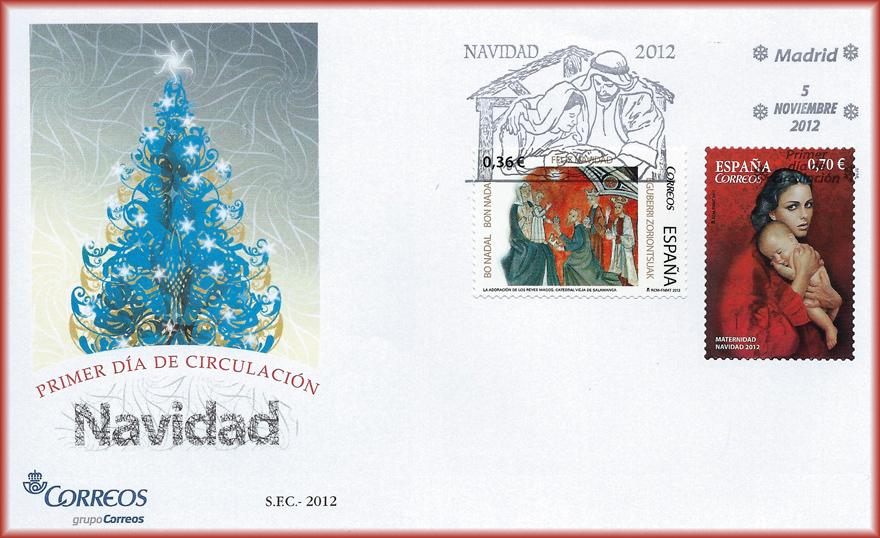 Sobre de Navidad 2012 con el sello Maternidad III de JCarrero