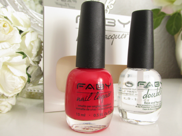 Review, Swatches: Faby Nail Laquer - Red Reflex - 15ml 14.95 Euro  &  Faby Double Base & Top Coat - 15ml 17.45 Euro