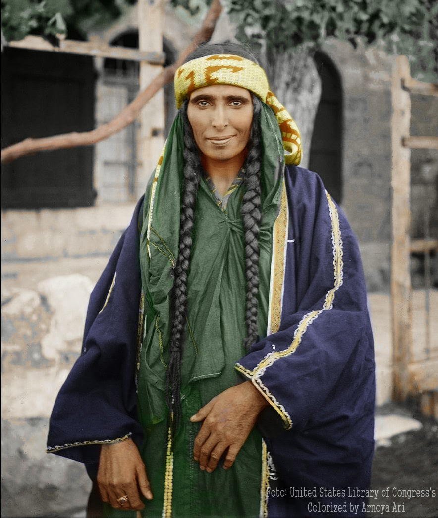 Bedouin woman in Jerusalem,  color, colorization, colorized