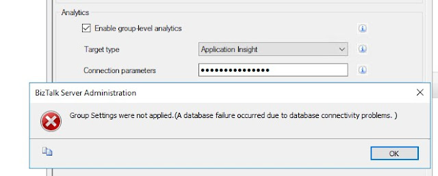 error while enabling analytics