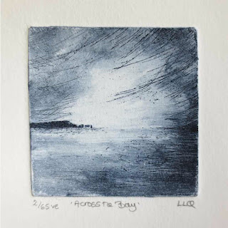 across the bay a coastal etching in indigo by Lisa Le Quelenec at seaside studios
