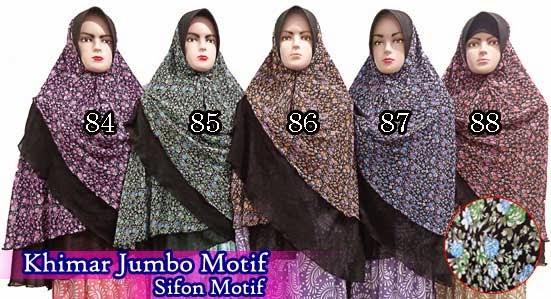 Grosir jilbab khimar jumbo motif terbaru murah