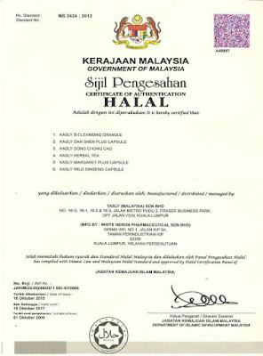 Tasly lulus Halal Jakim