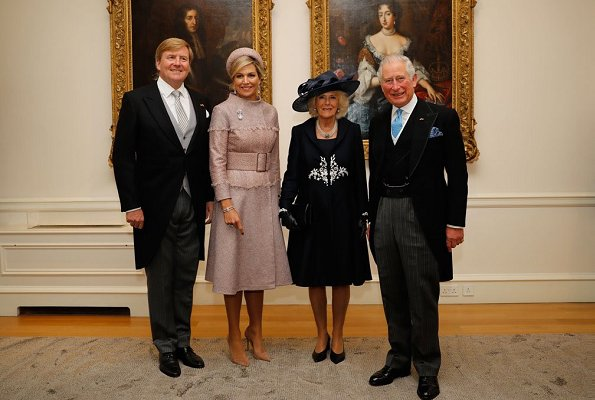 Queen Elizabeth II, Prince Charles and Camilla, Duchess of Cornwall. state banquet at Buckingham Palace. Maxima wore a new jacket by Claes Iversen