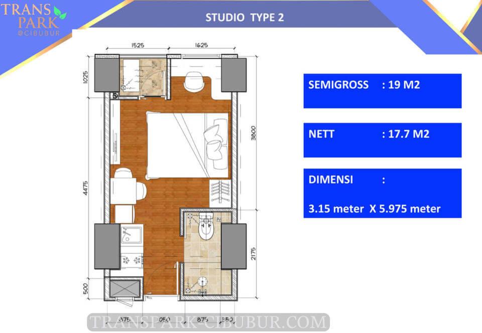 Denah Tipe 2 Studio Apartemen TransPark Cibubur