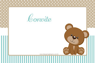 Teddy Bear for Boys Free Printable Invitations, Cards, Labels or Photo Frames.