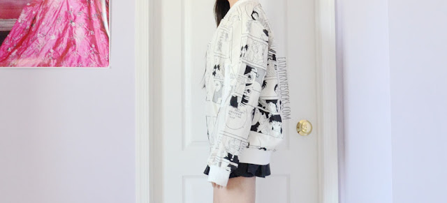 Off-white Japanese anime/manga print oversized longline bomber jacket from Romwe, the perfect monochrome outerwear.