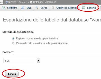Come esportare un database con phpMyAdmin