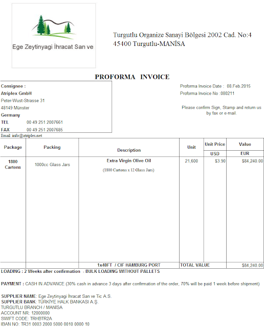 Proforma Fatura Örneği, Proforma Invoice Örnek