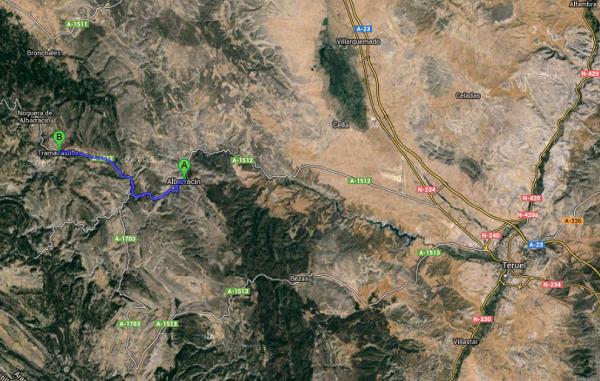 Mapa de Albarracín a Tramacastilla