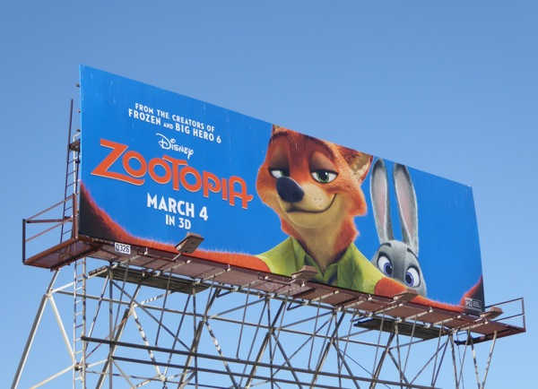 Zootopia movie billboard