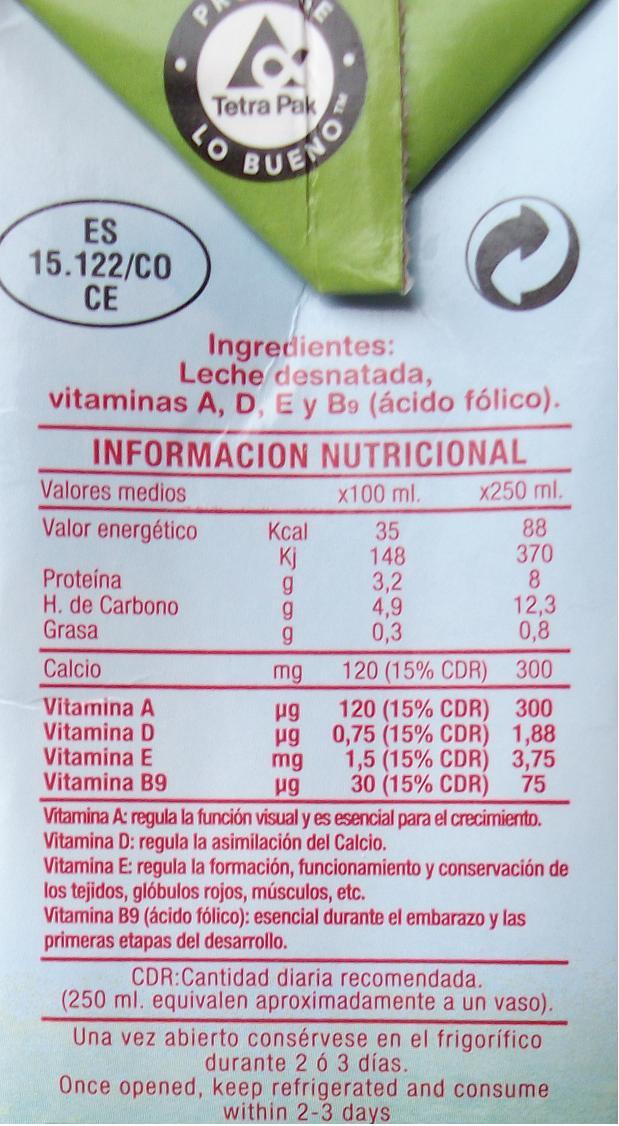 Informacin Nutricional Alimentos Envasados Leche de vaca