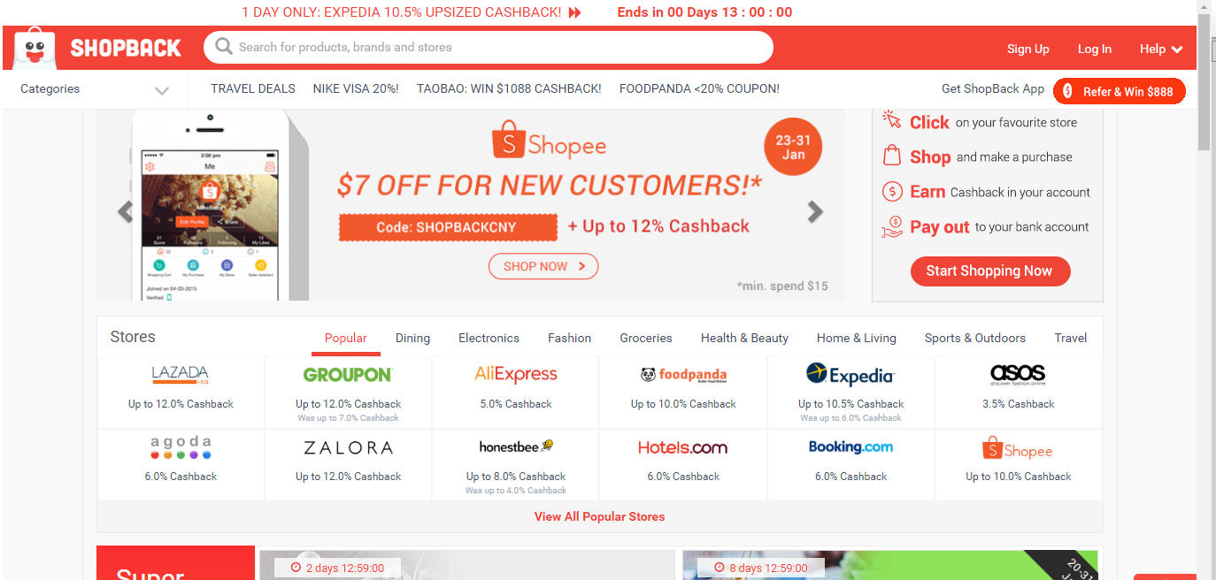 Get your cashback when you shop with Shopback