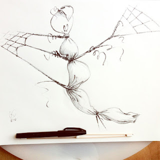 Ink drawing of ghost tied up - illustration and design by Cesare Asaro - Curio & Co. (Curio and Co. OG - www.curioandco.com)