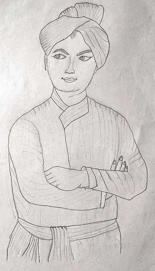 Pencil Drawing of Swami Vivekananda