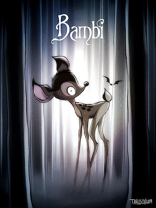 Los clásicos de Disney al estilo de Tim Burton: Bambi. Ver. Oír. Contar.