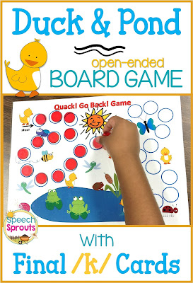 FREE Duck and Pond Themed Game with Final /k/ and Rhyme Cards by Speech Sprouts www.speechsproutstherapy.com