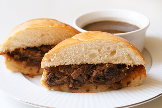 French Dips cooked in the crock pot