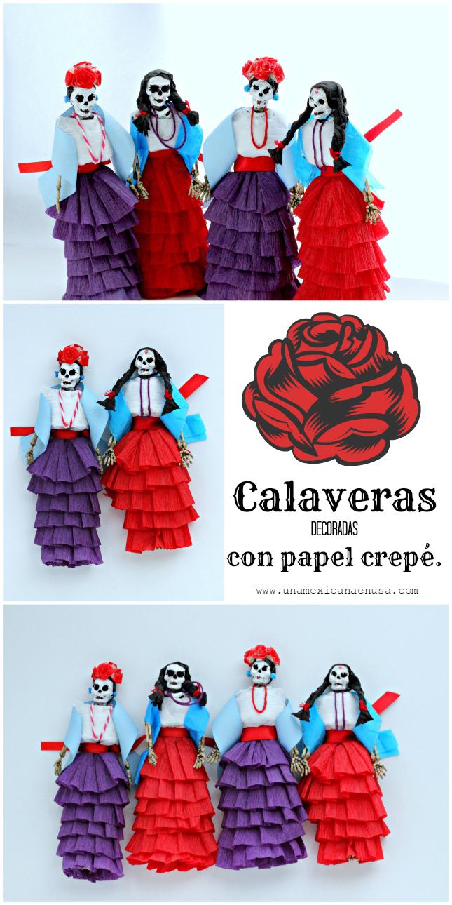 Calaveras decoradas con papel crepé - Día de muertos - by www.unamexicanaenusa.com