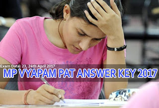 MP Vyapam PAT Answer Key 2017, MP Vyapam PAT Solutions on 23rd April 2017 exam