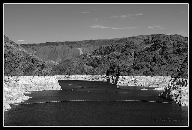A view of the low water level on Lake Mead at Hoover Dam.