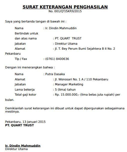 Contoh Surat Keterangan Gaji Penghasilan Karyawan BUMN ...