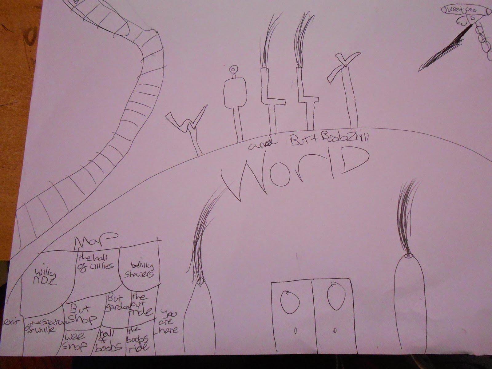 doodle map of willy world boobs and butt rude funny drawing squirting penises
