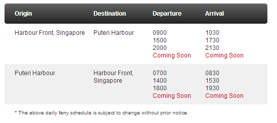 Ferry Schedule from Singapore to Puteri Harbour