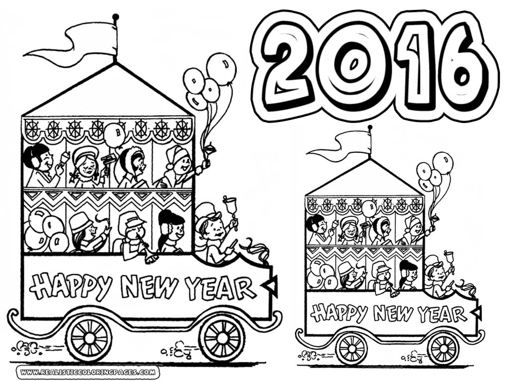 Happy New Year 2016 Coloring Pages Printable Realistic