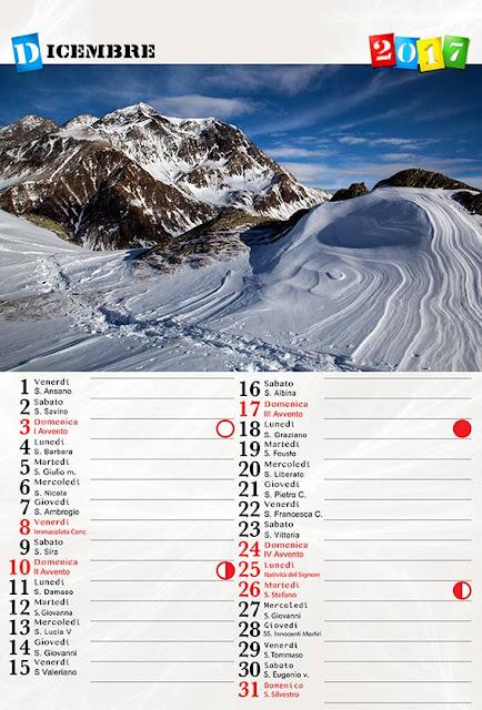 """Calendario 12 fogli + copertina """"santi e lune"""""""