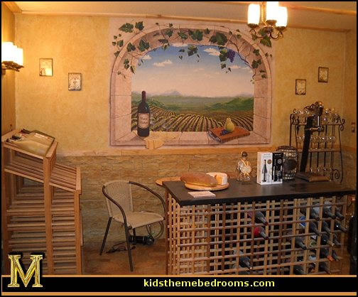 Tuscany Vineyard Style decorating - Tuscan Wall mural stickers - Tuscan themed kitchen accessories - grape decor - Tuscan theme decor - Wine barrel decor - rustic decor - Venice Italy decorating ideas - Italian Cafe - Old World furniture - luxury bedding - tuscan themed bedroom decor
