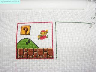 Het eerste blok met de afbeelding van Mario is af.