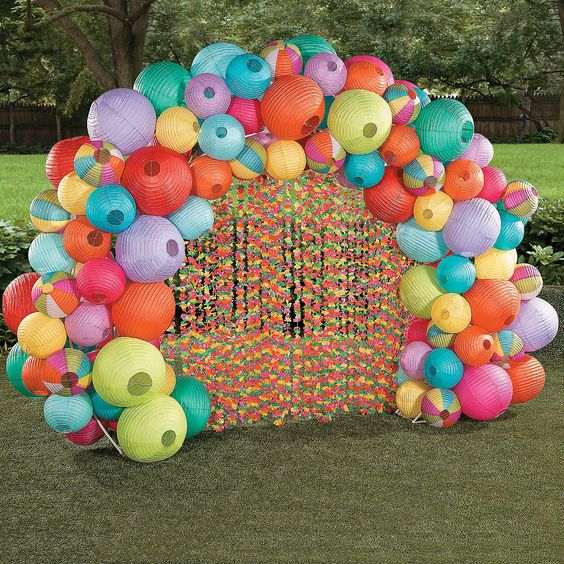 this balloon arch from oriental trading amazing - Luau Decorations
