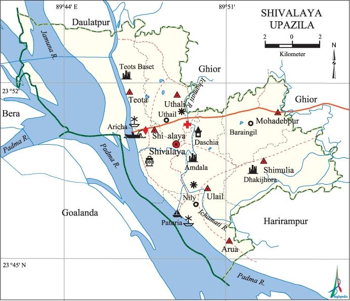 Shivalaya Upazila Map Manikganj District Bangladesh