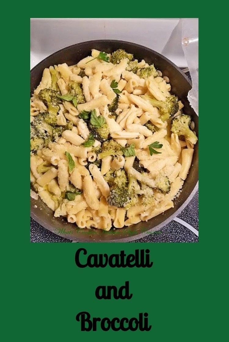 this is a light garlic and oil pasta called cavatelli and made with broccoli