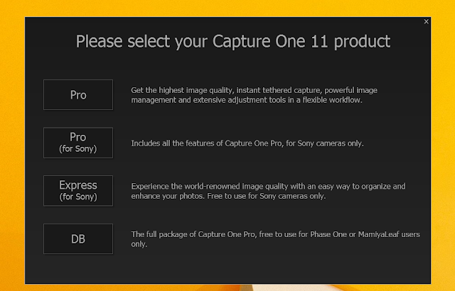 First time Capture One launch screen
