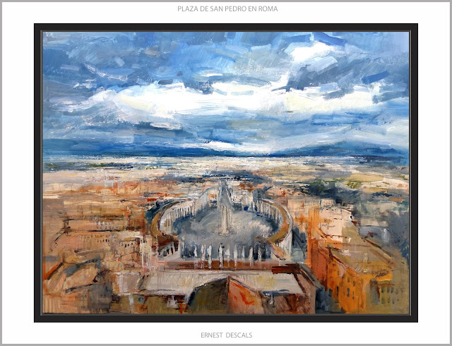 ROMA-PINTURA-VATICANO-PLAZA-SAN PEDRO-CUADROS-PAISAJES-ITALIA-ARTISTA-PINTOR-ERNEST DESCALS-