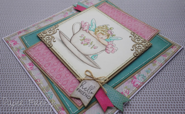 Clean layered card with fairy in teacup (image from Stamping Bella)
