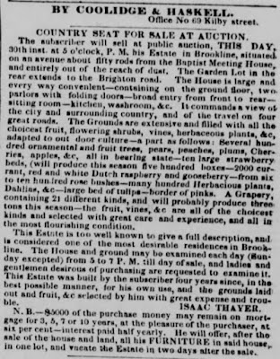 Thayer Ad, Boston Post, 1836