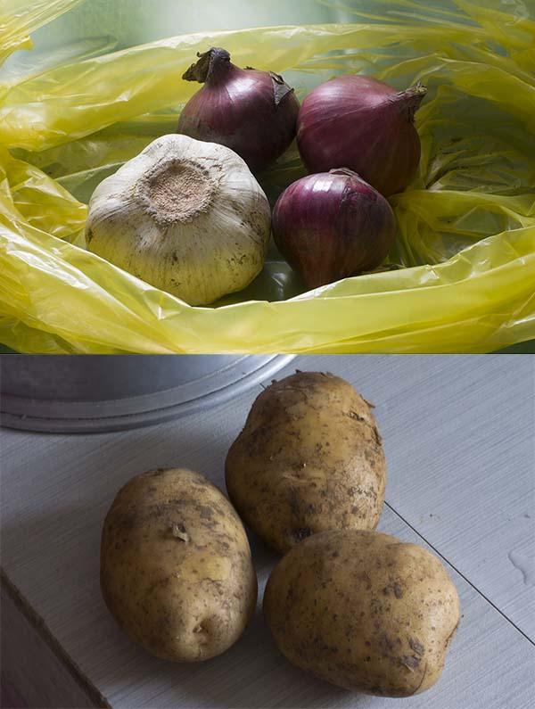 Potato, onion, and garlic ingredients