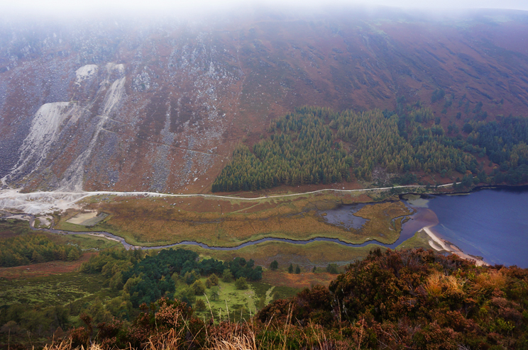 Glendalough valley seem from the top